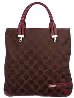 Tumi Leather-Trimmed Monogram Handle Bag