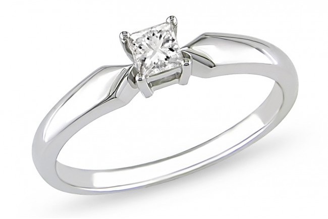 Ice 1/4 CT Diamond 14K White Gold Solitaire Engagement Ring