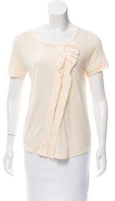 Marc by Marc Jacobs Ruffle Accented Short Sleeve Top