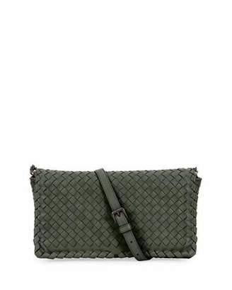 Bottega Veneta Small Intrecciato Flap Clutch Bag w/Strap, Gray $1,950 thestylecure.com