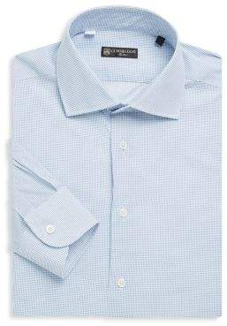 Corneliani Dot-Print Cotton Dress Shirt