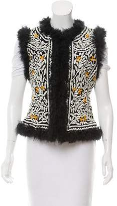 Tory Burch Embroidered Suede Vest