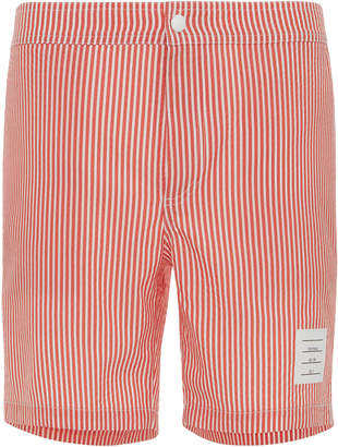 Thom Browne Snap-Front Striped Seersucker Swim Short