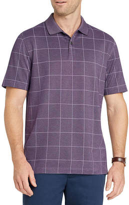 Van Heusen Short Sleeve Grid Knit Polo Shirt Slim