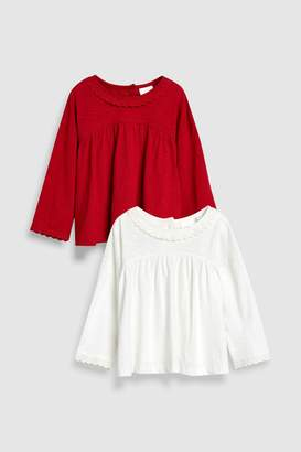 Next Girls Red Long Sleeve Blouses Two Pack (3mths-6yrs)