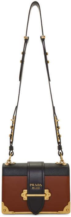 Prada Tan and Black Cahier Bag