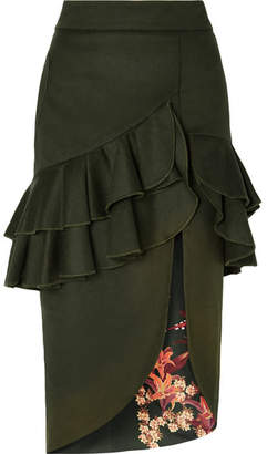 Johanna Ortiz Ruffled Wool-blend Felt Midi Skirt - Dark green