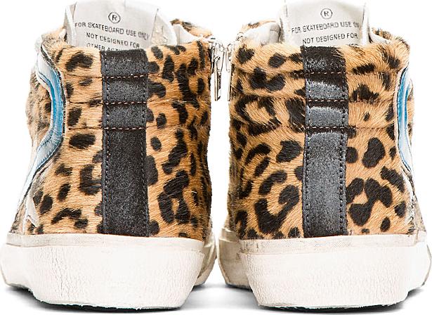 Golden Goose Grey & Leopard Print Calf-Hair Slide Sneakers