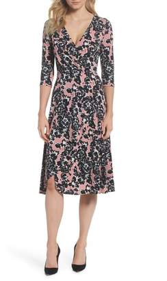 Leota Mae Floral Faux Wrap Midi Dress