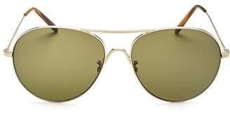Oliver Peoples Men's Rockmore Oversized Brow Bar Aviator Sunglasses, 58mm