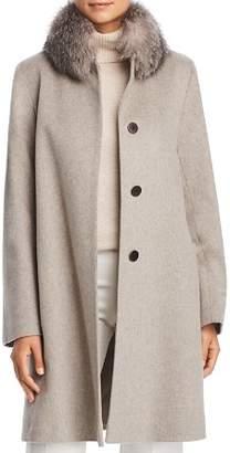 Maximilian Furs Fleurette Fox Fur Collar Wool Coat