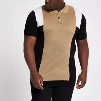 River Island Big and Tall brown slim fit block polo shirt