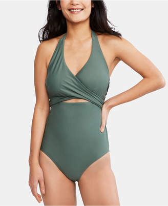A Pea in the Pod Maternity Wrap One-Piece Nursing Swimsuit