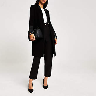 River Island Black PU panelled single-breasted coat