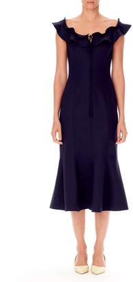Carolina Herrera Off-Shoulder Flare Dress