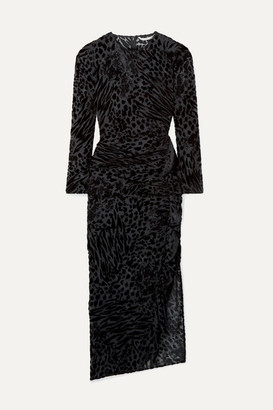 Veronica Beard Lala Ruffled Flocked Chiffon Midi Dress - Black