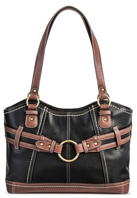 Bolo Women's Faux Leather Tote Handbag with Back/Interior Compartments with Top Zipper Button Closure - Black/Walnut $39.99 thestylecure.com