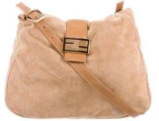 Fendi Leather-Trimmed Suede Bag