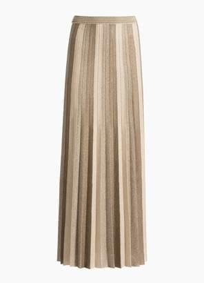 St. John Metallic Plisse Jacquard Knit Skirt