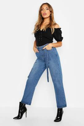 boohoo High Waist Belted Rigid Mom Jeans