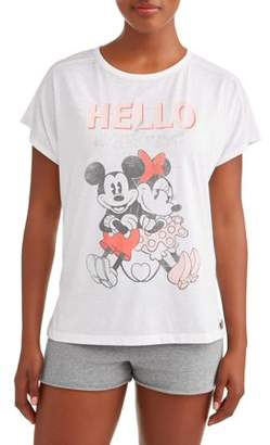 Disney Women s and Women s Plus Mickey Mouse and Minnie Pajama T-Shirt f15d43226