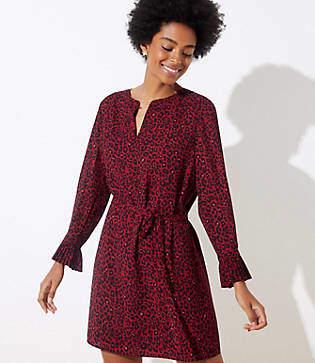 LOFT Petite Leopard Print Tie Waist Dress