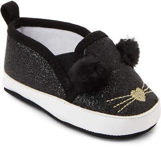 Rising Star (Infant Girls) Black Cat Slip-On Sneakers