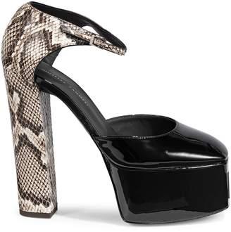 Giuseppe Zanotti Snakeskin-Print Leather Ankle-Strap Pumps