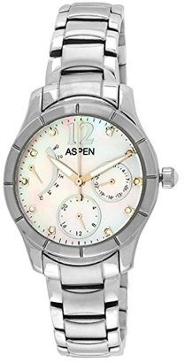 Aspen アスペンレディース電源太字アナログMother of Pearl Dial Watch