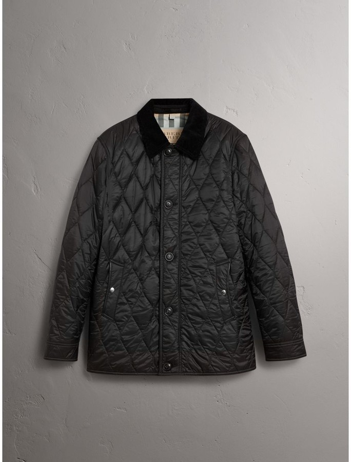 Burberry Check Detail Quilted Jacket with Corduroy Collar