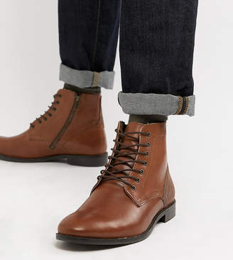 Asos DESIGN Wide Fit casual lace up boots in tan leather with brown sole