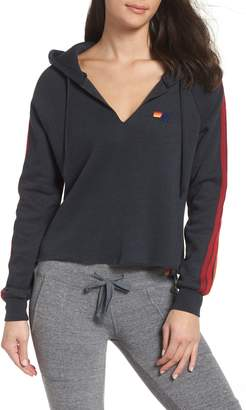 Aviator Nation Split Neck Crop Hoodie