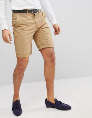 Solid Slim Fit Chino Short In Stone