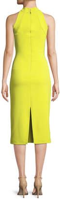 Brandon Maxwell Sleeveless Halter-Neck Stretch-Crepe Mid-Calf Sheath Dress