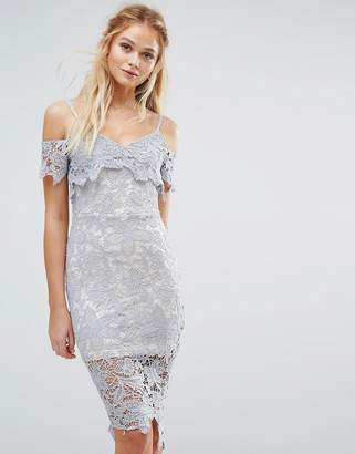 boohoo Crochet Lace Cold Shoulder Midi Dress