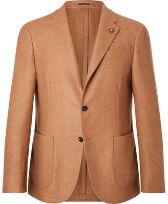 Lardini Camel Slim-Fit Unstructured Wool Blazer