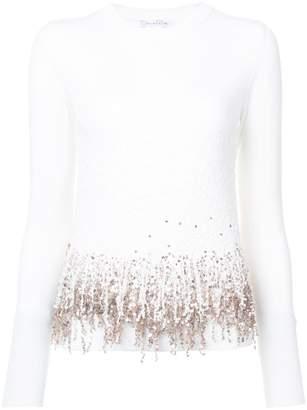 Oscar de la Renta embroidered fringed sweater