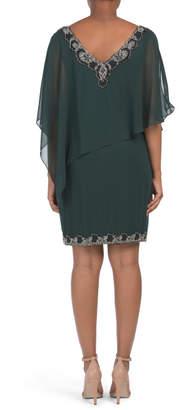 J Kara V-neck Beaded Chiffon Overlay Dress