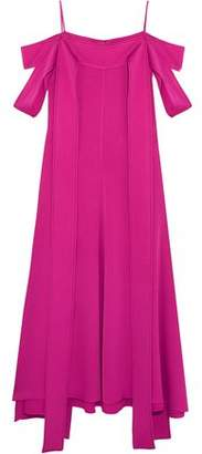 Ellery Poppies Cold-Shoulder Satin-Crepe Midi Dress