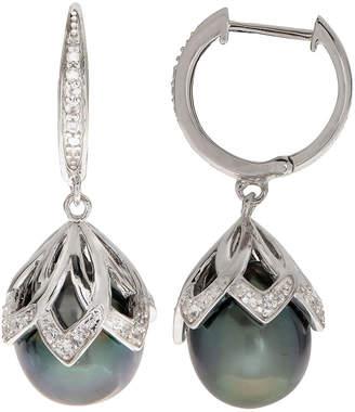 generic pearls Silver Topaz & 10-11Mm Tahitian Pearl Drop Earrings
