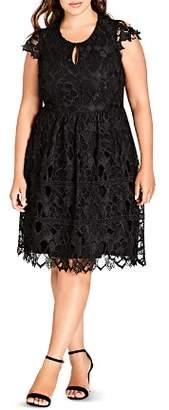 City Chic Plus Akiko Graphic Lace Dress