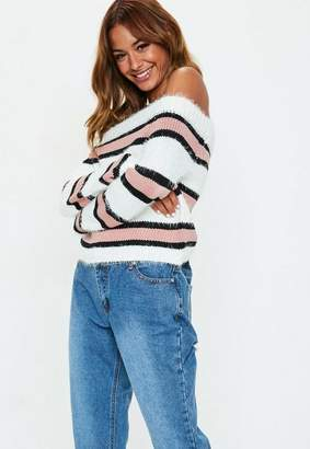 Missguided Pink Striped Off Shoulder Sweater