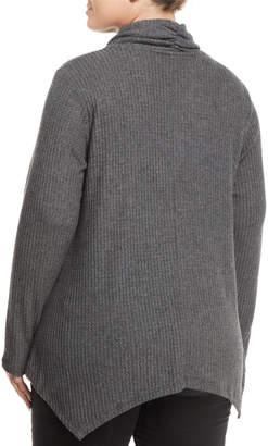 Bobeau Plus Analia Cowl-Neck Waffle-Knit Handkerchief Sweater, Plus Size