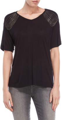 The Kooples Black Chain V-Neck Tee