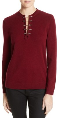 Women's The Kooples Pierced Collar Wool & Cashmere Pullover $285 thestylecure.com