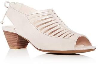 Paul Green Women's Trisha Nubuck Leather Slingback Mid Heel Sandals