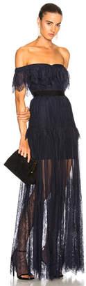 Self-Portrait Off Shoulder Fine Lace Maxi Dress
