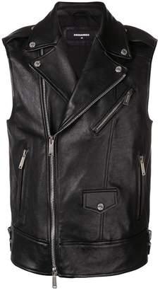 DSQUARED2 leather biker vest