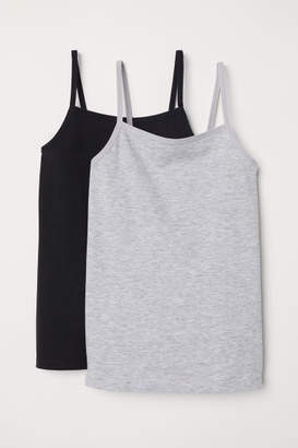 H&M 2-pack Jersey Camisole Tops - Gray