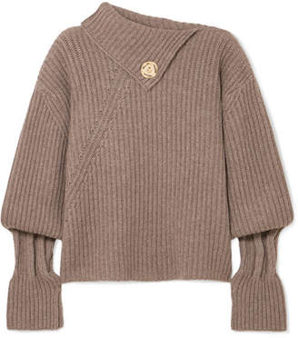 J.W.Anderson Embellished Ribbed Wool And Cashmere-blend Turtleneck Sweater - Brown